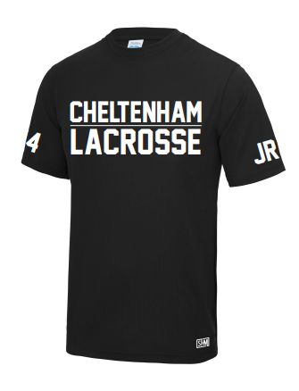 Cheltenham Lacrosse Black Mens Performance Tee (Number & Initials on Sleeves)(All Print)