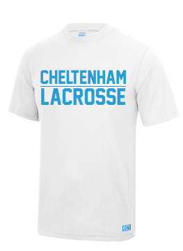 Cheltenham Lacrosse Mens White Performance Tee (Number & initials on Sleeve) (All Print)