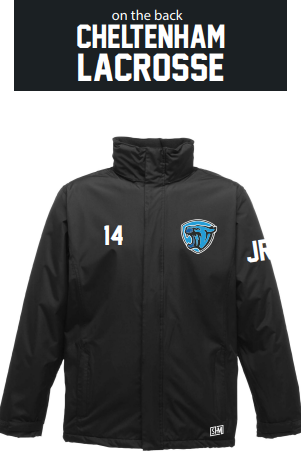Cheltenham Lacrosse Black Unisex Waterproof Fleece lining Squad Coat (Embroidery Except Text To Back