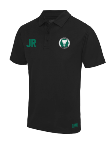 Stirling Badminton Black Womens Performance Polo (With AU Logo)