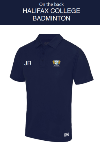 Halifax Badminton Navy Womens Performance Polo (Everything Embroidery, Everything Else Print)