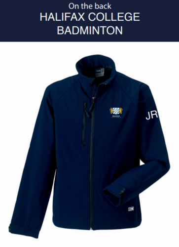 Halifax Badminton Navy Womens Softshell (Logo Embroidery, Everything Else Print)