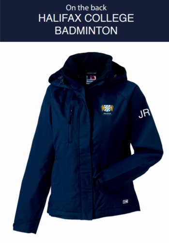 Halifax Badminton Navy Mens Hydroplus Hooded Jacket (Logo Embroidery, Everything Else Print)