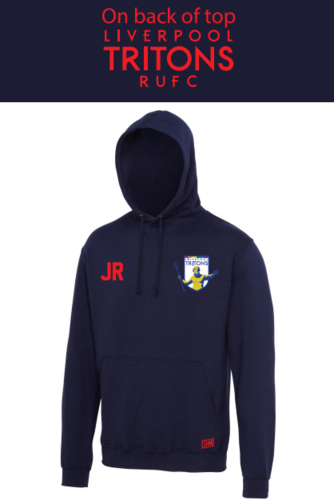 Tritons Rugby Navy Mens Hoody (Logo Embroidery, Everyting Else Print)