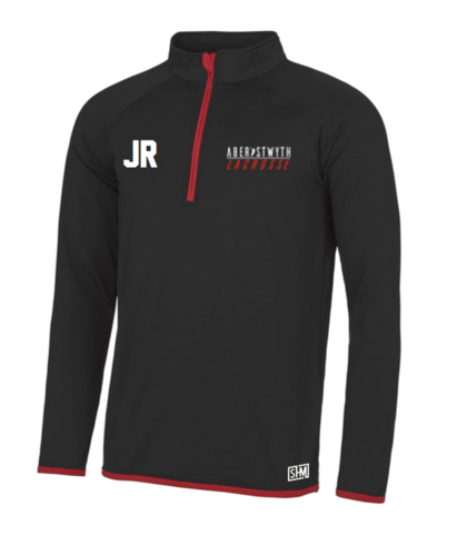Aberystwyth Lacrosse Mens Black & Red Performance Sweatshirt (All Embroidery)