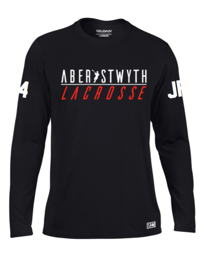 Aberystwyth Lacrosse Black Womens Long Sleeved Performance Tee (All Print)