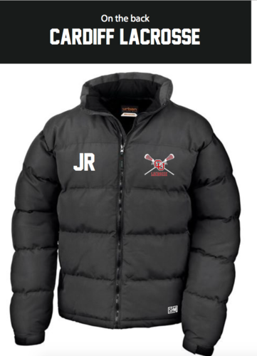 Cardiff University Lacrosse Black Mens Puffa (Logo Embroidery, Everything Else Print)