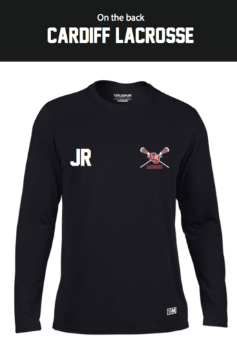 Cardiff University Lacrosse Black Mens Long Sleeved Performance Tee (All Print)