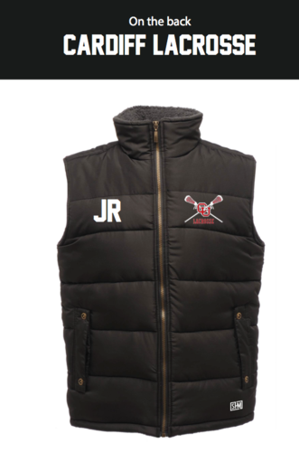 Cardiff University Lacrosse Black Unisex Gilet (Logo Embroidery, Everything Else Print)