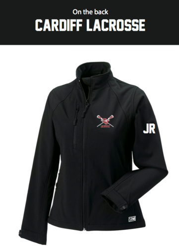 Cardiff University Lacrosse Black Womens Softshell Jacket (Logo Embroidery, Everything Else Print)
