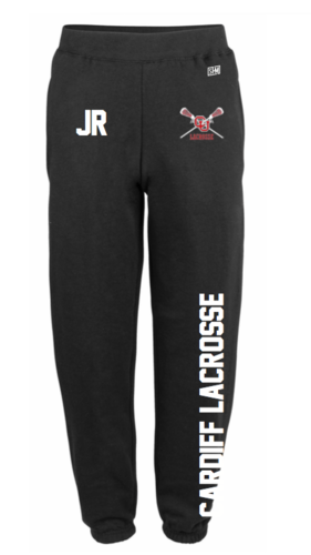 Cardiff University Lacrosse Black Mens Sweatpants (Logo Embroidery, Everything Else Print)