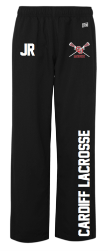 Cardiff University Lacrosse Womens Black Trackies (Logo Embroidery, Everything Else Print)