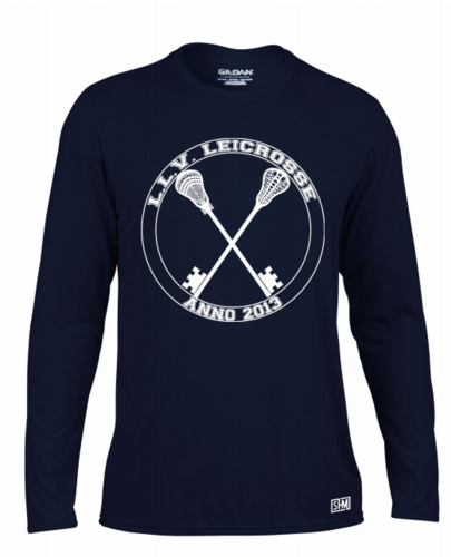 L.L.V Leicrosse Navy Mens Long Sleeved Performance Tee (All Print)