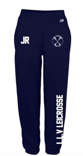 L.L.V Leicrosse Navy Mens Sweatpants (Logo Embroidery, Everything Else Print)