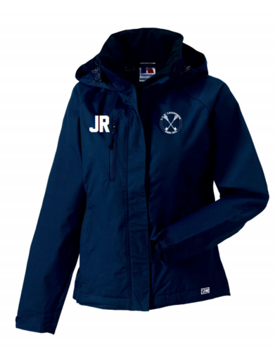 L.L.V Leicrosse Navy Womens Hydroplus Hooded Jacket (Logo Embroidery, Everything Else Print)