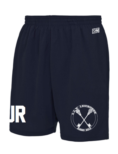 L.L.V Leicrosse Navy Unisex Shorts (Logo Embroidery, Everything Else Print)