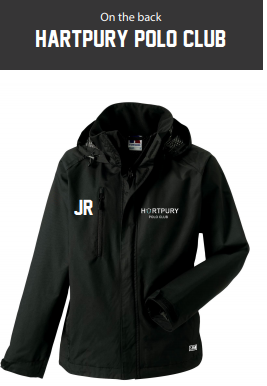Hartpury Polo Mens Black Hydroplus Hooded Jacket (Logo Embroidery, Everything Else Print)