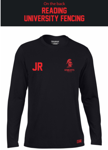 Reading University Fencing Black Mens Long Sleeved Performance Tee (All Print)