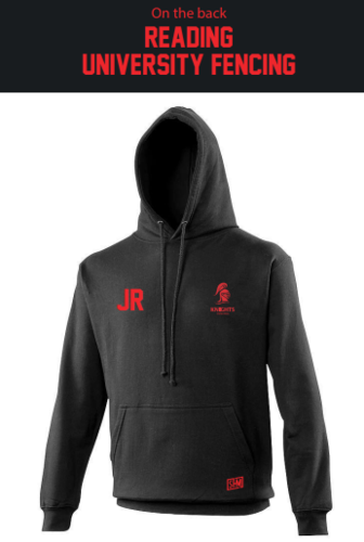 Reading University Fencing Black Womens Hoody (Logo Embroidery, Everything Else Print)