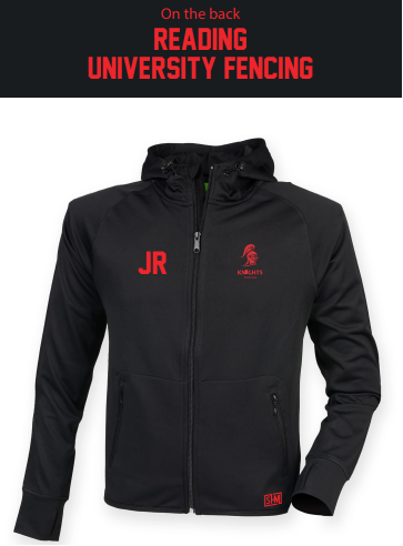Reading University Fencing Black Unisex Fitness Hoody (Logo Embroidery, Everything Else Print)