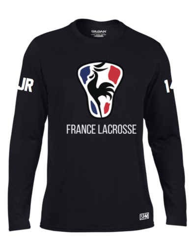 France Lacrosse Black Mens Long Sleeved Performance Tee (All Print)