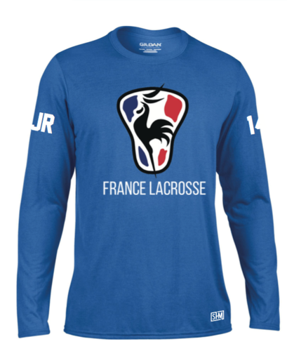 France Lacrosse Blue Mens Long Sleeved Performance Tee (All Print)