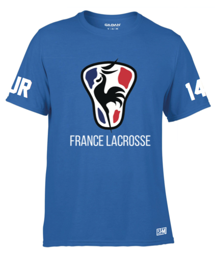 France Lacrosse Blue Mens Performance Tee (All Print)