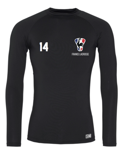 France Lacrosse Black Mens Baselayer (All Print)