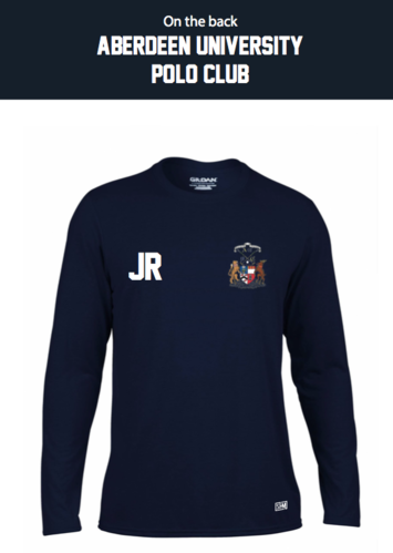 Aberdeen Polo Navy Mens Long Sleeved Performance Tee (Logo Embroidery, Everything Else Print)