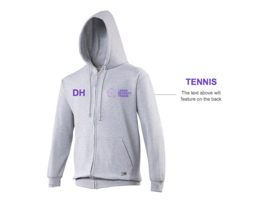 Leeds Beckett Tennis Unisex Ash Zoodie (All Print) (RS)