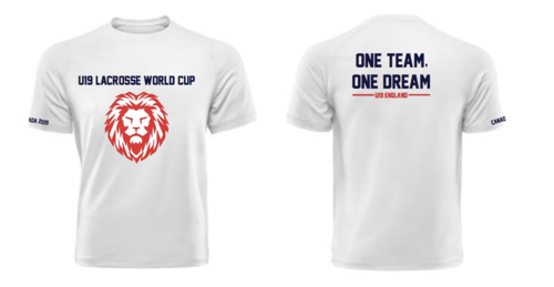 England Womens Lacrosse U19 Unisex White Cotton Tee (All Print) (One Team, One Dream In Big)