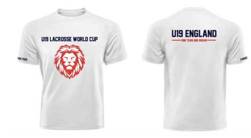 England Womens Lacrosse U19 Unisex White Cotton Tee (All Print) (One Team, One Dream In Small)