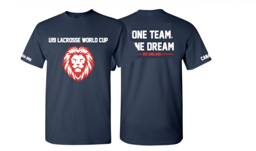 England Womens Lacrosse U19 Unisex Navy Cotton Tee (All Print) (One Team, One Dream In Big)