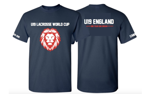 England Womens Lacrosse U19 Unisex Navy Cotton Tee (All Print) (One Team, One Dream In Small)