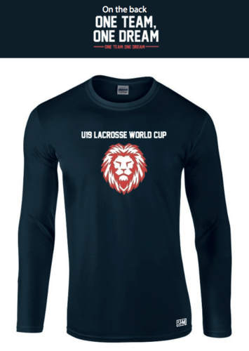 England Lacrosse U19's Womens Navy Long Sleeved Cotton Tee (All Print) (One Team, One Dream In Big)