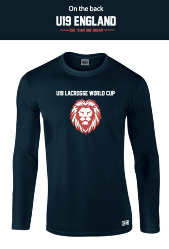 England Lacrosse U19's Navy Unisex Long Sleeved Cotton Tee(All Print) (One Team, One Dream In Small)