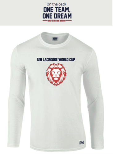 England Lacrosse U19's White Unisex Long Sleeved Cotton Tee (All Print) (One Team, One Dream In Big)