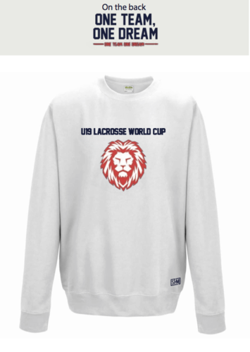 England Lacrosse U19's White Unisex Sweatshirt (All Print) (One Team, One Dream In Big)