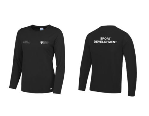 Northumbria Sport Exercise And Rehabilitation Black Mens Long Sleeved Performance T (All Print) (RS)