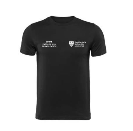 Northumbria Sport Exercise And Rehabilitation Black Mens Performance Tee (All Print) (RS)