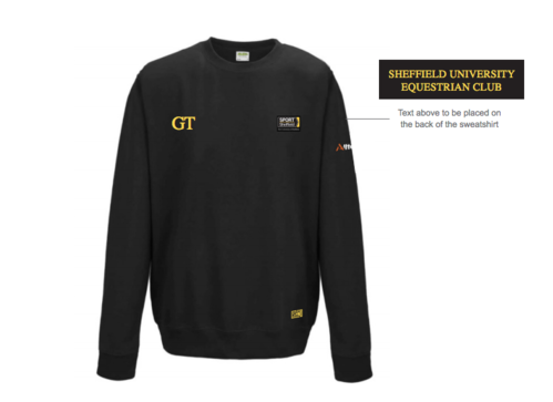 Sheffield Equestrian Black Unisex Sweatshirt (Both Logos Embroidery, Everything Else Print)