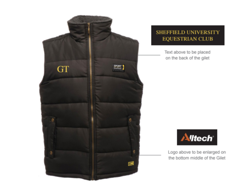 Sheffield Equestrian Black Womens Gilet (Logo Embroidery, Everything Else Print)