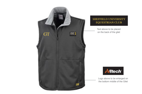 Sheffield Equestrian Black Softshell Gilet (Logo Embroidery, Everything Else Print)