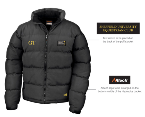 Sheffield Equestrian Black Womens Puffa (Logo Embroidery, Everything Else Print)