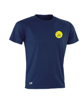 Long Marston Tennis Navy Mens Cotton Tee (All Embroidery)