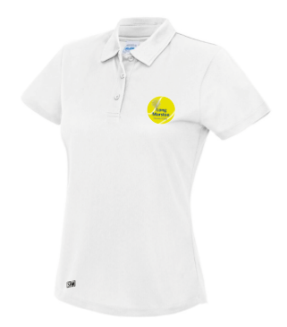 Long Marston Tennis White Womens Performance Tee (All Embroidery)