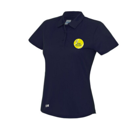 Long Marston Tennis Navy Womens Performance Polo (All Print)