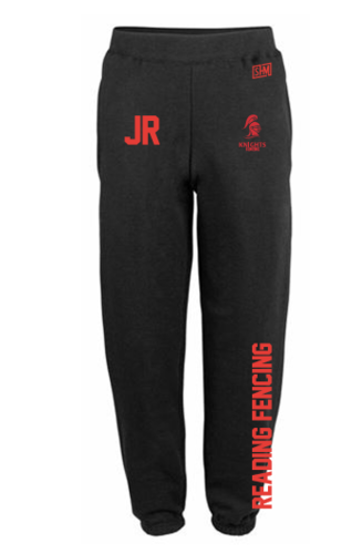Reading University Fencing Mens Black Sweatpants (Logo Embroidery, Everything Else Print)