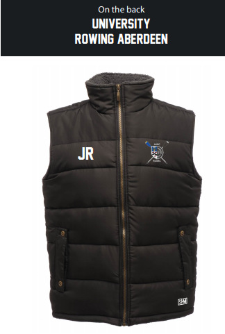 Aberdeen Rowing Black Unisex Gilet (Logo Embroidery, Everything Else Print)