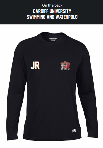 Cardiff University Swim & Waterpolo Black Mens Long Sleeved Performance Tee (All Print)